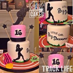 Track and Field Cake Golden Birthday Parties, 16 Birthday Cake, 16th Birthday, Sweet Sixteen Cakes, Sweet 16 Cakes, Running Cake, Bday Girl, Sweet 16 Parties, Cake Boss