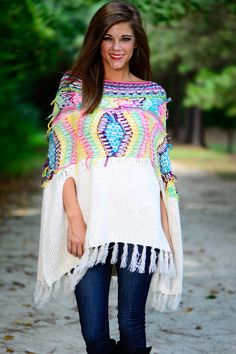 """Hanging+In+There+Poncho,+White"""