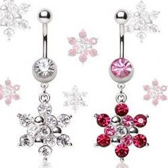 Snowflake Dangle Belly Button Ring - Dangling Winter Themed Body Jewellery