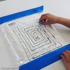 Ball Maze Sensory Bag * ages ⋆ Raising Dragons Such a fun, sensory fine motor activity!Ball Maze Sensory Bag 🔵 ages 🔵 Start by drawing a maze on a piece of paper and tape to a flat surface. Then fill a large sealable bag… Motor Skills Activities, Preschool Learning Activities, Infant Activities, Educational Activities, Teaching Kids, Health Activities, Fine Motor Activity, Writing Center Preschool, Occupational Therapy Activities
