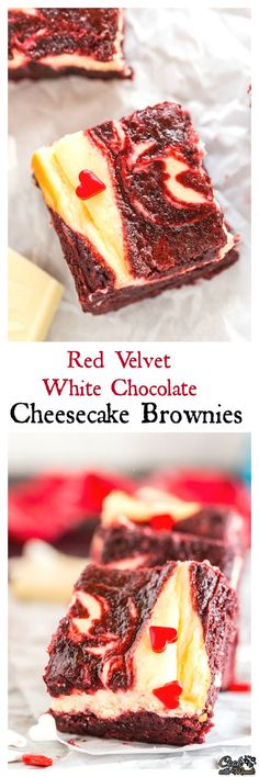Fudgy Red Velvet White Chocolate Cheesecake Brownies are the perfect little treat for Valentine's Day! Chocolate Cheesecake Brownies, Brownie Desserts, Cheesecake Bars, Brownie Recipes, Chocolate Desserts, Cheesecake Recipes, Cupcake Recipes, Cupcake Cakes, Chocolate Cupcakes