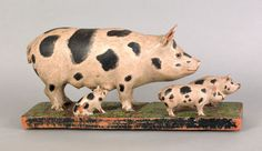 """Pook & Pook. October 24th & 25th 2008. Lot 718.  Estimated: $10K - $15K. Realized Price: $44,460. Asa Carpenter(American, late 19th c.), carved and painted figure of a sow and her offspring, inscribed """"Jacknife Carving by Asa Carpenter"""", 9 1/4"""" h., 20"""" w. Illustrated in Machmer, Just For Nice, fig. 57."""