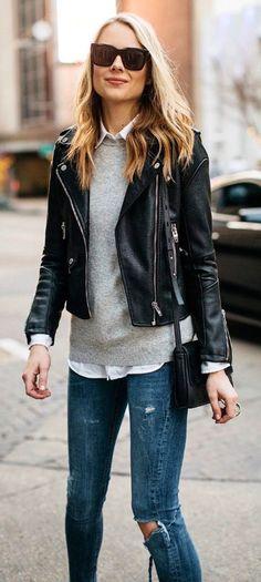 #winter #fashion / Black Leather Jacket / Grey Knit / White Shirt / Destroyed Skinny Jeans