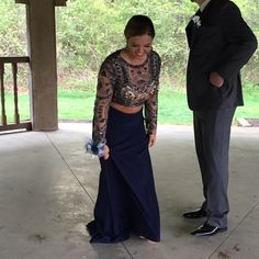 Sherri Hill Prom Gown Long sleeve, Aztec print, navy Blue, open back, two piece, with train. Super comfortable, only worn once, size 10 but fits like an 8.got an alteration made to remove the belt because it was very uncomfortable for me but otherwise it is really comfy and easy to move in! Sherri Hill Dresses Prom