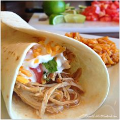 Slow-Cooker Shredded Chicken Tacos and Burritos  - Only 4 ingredients!  SweetLittleBluebird.com