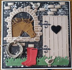 Kaart met paard, MD 3d Cards, Stampin Up Cards, Mothersday Cards, Horse Cards, Rena, Window Cards, Cute Horses, Marianne Design, Garden Theme