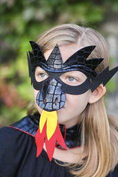 Halloween Ready BLACK DRAGON MASK Shiny Scales Kids