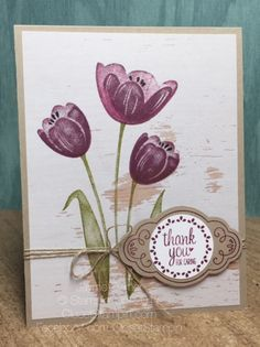 Tranquil Tulips with Label Me Pretty and Wood Textures DSP by Stampin' Up! NEW 2017-2018 Annual Catalog!! Closet Stampin' with Jayme Ziemer. Closetstampin.com