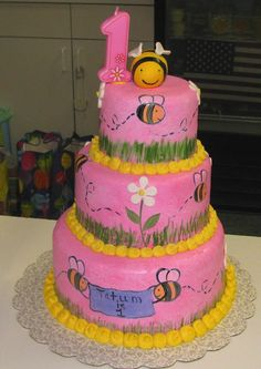 bumble bee cakes | Sweet Endings by Stephanie: Hand Painted Bumble Bee Cake