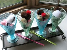 A cute ice cream parlor for kids-- made with pom poms