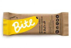 "Bite Best Food Packaging Designed by Peter Gregson  ""Bite is a completely new product from Russian company BioFoodLab. It's a 100% natural and healthy snack bar and it contains entirely of various fruits and nuts. There are 5 tastes for now, classified according to the main ingredient and its health benefit (e.g. cranberry as main ingredient + immunity as benefit)."""