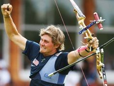 2012 London Games kick off.  Brady Ellison of the United States celebrates victory in the men's team archery semi-final on Day One of the London 2012 Olympic Games at Lord's Cricket Ground on July 28, 2012, in London.