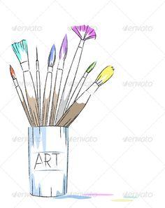art brush ... art, artist, artistic, brush, color, colorful, craft, creative, creativity, design, drawing, equipment, jar, paint, paintbrush, painter, stain, tools, vector, watercolor