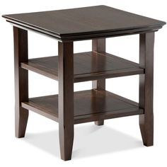 Avery End Table, Quick Ship (87 CAD) ❤ liked on Polyvore featuring home, furniture, tables, accent tables, tobacco brown, contemporary furniture, contemporary end tables, 2 tier side table, 2 tier end table and brown's furniture