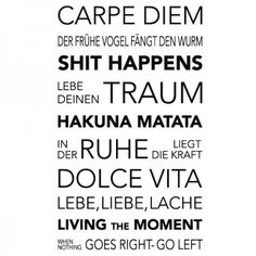 Wenn du ein Fan von Sprüchen und Zitaten bist, dann ist dieses Banner mit vielen schönen Lebensweisheiten genau das Richtige für dich. #Lebensweisheiten #Sprüche #Banner #Wadeco // http://www.wadeco.de/banner-lebensweisheiten-2-wandtattoo.html