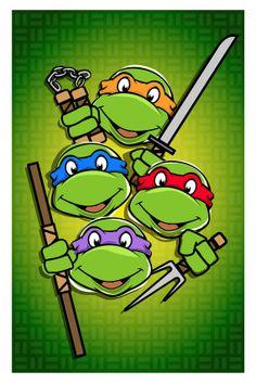 Teenage Mutant Ninja Turtles Poster TNMT Retro by GeekyPrints