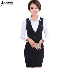 Cheap fashion skirt suits, Buy Quality skirt suit directly from China vest skirt suit Suppliers: Fashion slim women's vests skirt suit OL elegant career formal V-Neck vests with skirt office ladies plus size work wear suits