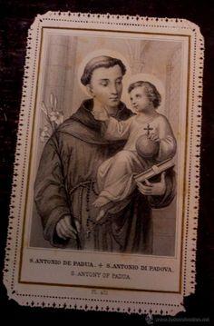 Oracion A San Antonio, Saint Anthony Of Padua, Religious Images, Man And Dog, Orisha, Prayer Cards, Tattoo Ideas, Prayers, Illustration Art