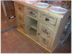 Handmade Wooden Wine Box Sideboards and Cabinets