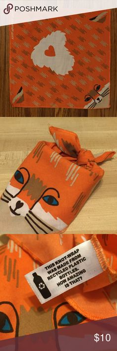 "Fox Lush Knot Wrap Made from recycled bottles, Lush knot wrap, 13.5""x13.5"" Lush Accessories Scarves & Wraps"