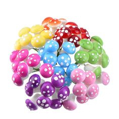 Mudder 64 Pieces Fairy Miniature Garden Ornaments, Mushrooms Set, 8 Colors ** Trust me, this is great! Click the image. : Garden statues