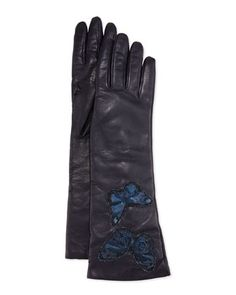 Napa+Leather+Butterfly+Embroidered+Gloves,+Marine+by+Valentino+at+Neiman+Marcus.