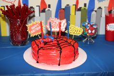 A creative Spiderman Cake that is not that hard to make. The toy on top is an extra! #spiderman #party #cake