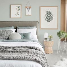 Ahh the serenity! Stunning Scandinavian styled bedroom by Melbourne based interior stylist 👈🏻 for the latest edition of photo by Bedroom Green, Room Ideas Bedroom, Cozy Bedroom, Bedroom Colors, Home Decor Bedroom, Living Room Decor, Bedroom Interiors, Home Room Design, Design Bedroom