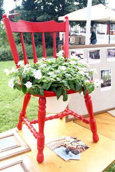 Old chair planter and push pin board