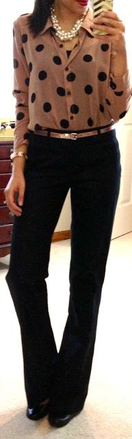 F21 blouse, Banana Republic outlet Martin Wool Trousers, F21 pearl necklace & belt, NY watch, Jessica Simpson pumps
