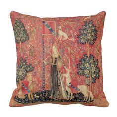 LADY AND UNICORN Lion,Fantasy Flowers,Animals Throw Pillow #nature #garden #flowers #animals #beauty #heraldic