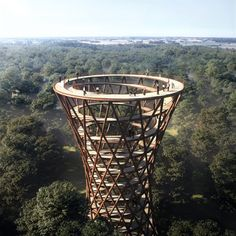 Copenhagen-based architecture office EFFEKT designs a spiraling observation tower and a treetop walkway that overlook the Gisselfeld Klosters Skove forest in Haslev Contemporary Stairs, Contemporary Garden, Contemporary Architecture, Contemporary Interior, Architecture Design, Architecture Facts, Dezeen Architecture, Design Architect, Contemporary Building