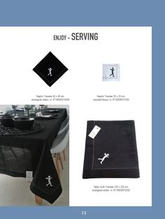 Graphic black and white table cloth and napkins. In ecological cotton and recycled paper | www.kiem-wayoflife.com