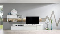 Gamble - Obývací stěna 570710 (bílá/bílá lesk/panel dub sand) Paneling, Flat Screen, Sand
