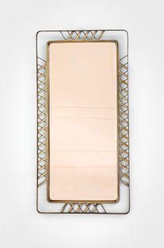 Gio Ponti : Specchio da parete Cornice in fusione di ottone massiccio nichelato, vetro rosa specchiato e bisellato. Prod. Luigi Fontana, fine anni '30 Firma del produttore stampata sul retro del vetro. cm 122X62X4 Expertise Gio Ponti Archives.