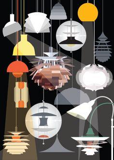 New lighting illustration graphic Ideas Modern Lighting, Lighting Design, Plywood Furniture, Furniture Design, Danish Design, Modern Design, Mid Century Modern Art, Illustration, Look Vintage