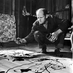 Painter Jackson Pollock Working in His Studio, Cigarette in Mouth, Dropping Paint onto Canvas Premium Photographic Print by Martha Holmes - ...