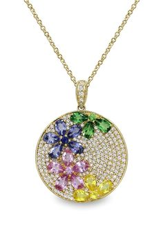 Watercolors Multi Sapphire & Diamond Pendant, 5.61 TCW