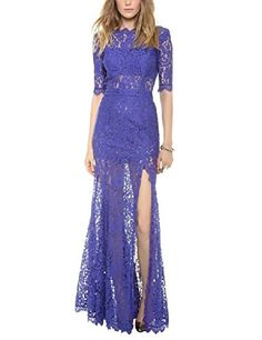 YesFashion Women's Sexy Lace Backless Long Dress Royal Bl…