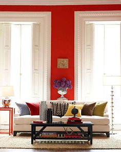 bold accent wall color sets off large window/door detail and crisp white beautifully #color #design
