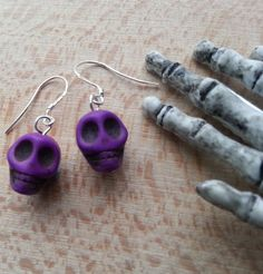 Pastel Goth / Punk Purple Skull Earrings by HippieChip on Etsy