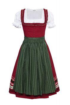 Dirndl rot mit grüner Schürze. Lena Hoscheck 2012