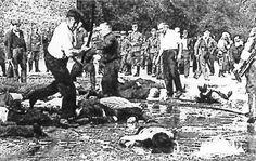 Lituanos asesinando judíos con barras de acero.