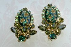 Juliana D Green Carved Floral Earrings with Rhinestones