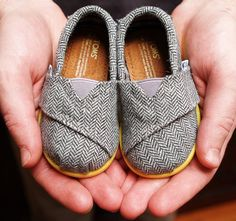 Yellow Pop Herringbone Tiny TOMS Classics