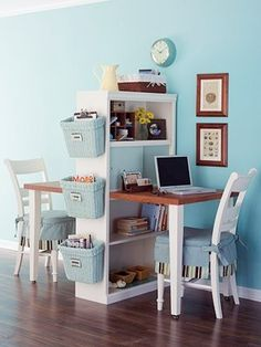 Diy Home decor ideas on a budget. : 6 Considerations When Decorating a Small Space. See our 19 favorite home office ideas for small mobile homes. You don't have to have a lot of space to create a nice home office. Desk For Two, Double Desk, Double Space, Double Room, Sweet Home, Diy Casa, Ideas Para Organizar, My New Room, Home Organization