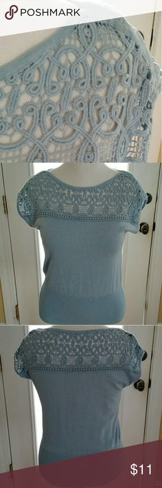 """Beautiful Baby Blue Chelsea & Theodore Knit Top Wear this lovely and delicate knit top and you'll receive compliments all day! A beautiful light blue color (""""Foxglove Blue"""") with detailed, crochet-like stitching on the bodice and upper back. Material is a comfortable stretchy knit. Contrasting waist for a slimming look. Cap sleeves.  New! Never Worn! Smoke-free home!  Fell in love with this top, but the blue doesn't go with my complexion.   Approx. Measurements (flat):  Armpit to armpit: 18""""…"""