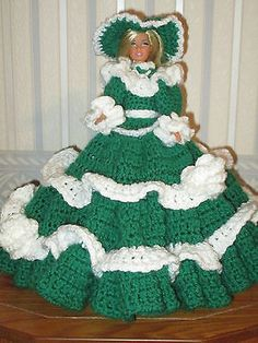 Crochet Victorian Barbie Doll Dress In Green and White