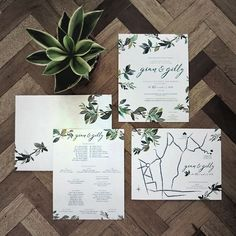 A leafy inviation suite for Gian & Gilly  Congrats, Docs!  #watercolor #weddingsph