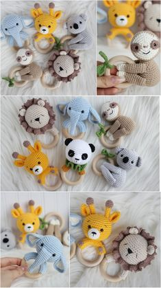 Safari animals handmade baby rattle Nursery decor and first toy, Pregnant friend gift - Home decor interests Crochet Baby Toys, Crochet Toys Patterns, Stuffed Toys Patterns, Gift For Friend Girl, Cute Gifts For Friends, Friends Girls, Handmade Baby, Handmade Toys, Wooden Crates Gifts